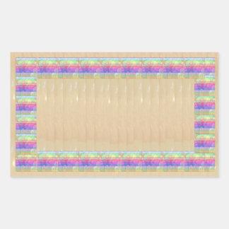 Regnbågefärger kvadrerar guld- gräns n baserar rektangulärt klistermärke