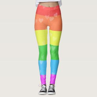 Regnbågeflagga med pride för hjärtor LGBT Leggings