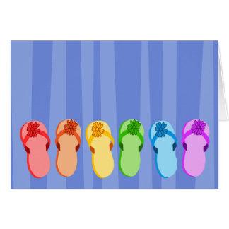 Regnbågeflinflip flops hälsningskort