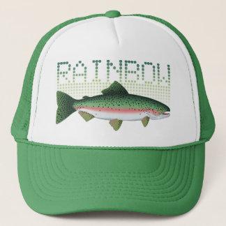 Regnbågeforellgåva för en sportfiskare eller en truckerkeps