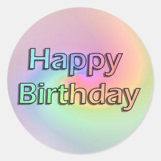 Regnbågegrattis på födelsedagen runt klistermärke