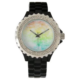 Regnbågemolnbakgrund skräddarsy eller det molniga armbandsur