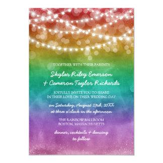 Regnbågen Ombre stränger glatt bröllop för ljus 12,7 X 17,8 Cm Inbjudningskort