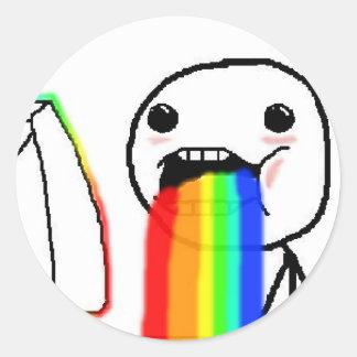 Regnbågen Puke komiskt ansikte Runda Klistermärken