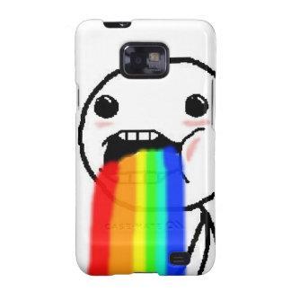 Regnbågen Puke komiskt ansikte Galaxy S2 Skydd