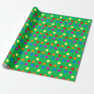 Regnbågepolka dots på ljust - grönt presentpapper
