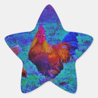 Regnbågetupp & hönor, elektrisk blått stjärnformat klistermärke