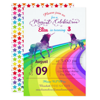 RegnbågeUnicorn - inbjudan för födelsedag 3x5