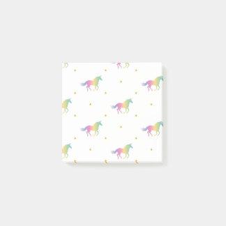 RegnbågeUnicorns & guld- stjärnamönster Post-it Lappar