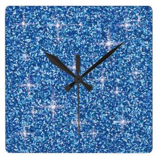 Regnbågsskimrande glitter för blått fyrkantig klocka