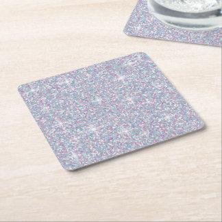 Regnbågsskimrande glitter för vit underlägg papper kvadrat