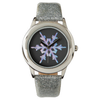 Regnbågsskimrande snowflakeklocka armbandsur