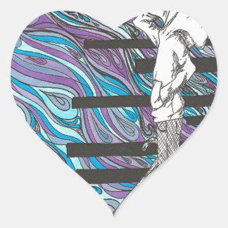 Regnig dag hjärtformat klistermärke