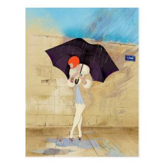 Regnig dagblomma vykort