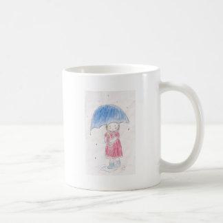 Regnig dagflicka kaffemugg