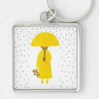 Regnig dagflicka med nallen Keychain Fyrkantig Silverfärgad Nyckelring