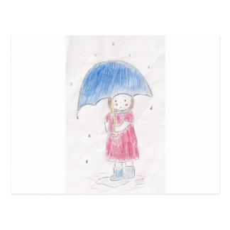 Regnig dagflicka vykort