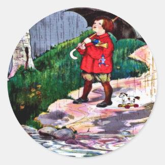 Regnig dagklistermärke runt klistermärke