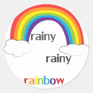 Regnig regnig regnbåge runt klistermärke
