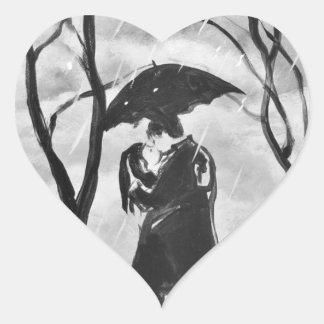 Regniga dagkyssar hjärtformat klistermärke
