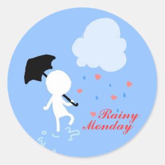 Regniga Måndag regnar regnar klistermärken