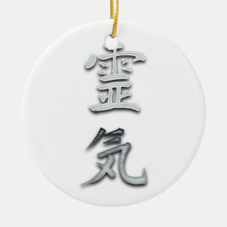 Reiki (den gammala japanen undertecknar), julgransprydnad keramik