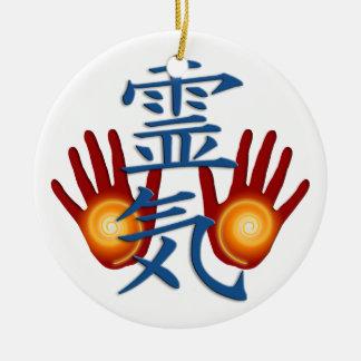 Reiki händer julgransprydnad keramik