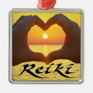 Reiki hjärta, händer, sol som läker energi, julgransprydnad metall