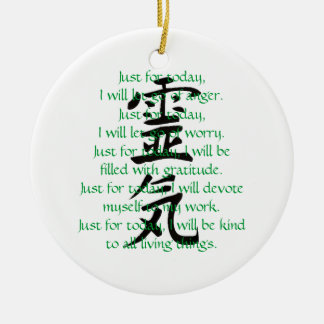 Reiki Kanji och Precepts med Usui Julgransprydnad Keramik