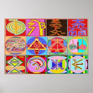 REIKI Karuna som läker förlages symboler Poster
