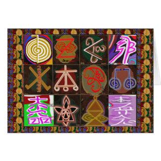 REIKI Karuna som läker symboler - böntextinsida Hälsningskort