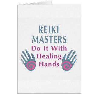 Reiki Masters gör det med att läka händer Hälsningskort