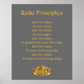 Reiki principgrå färg och guld poster