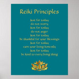 Reiki principkricka/guld- lotusblomma poster