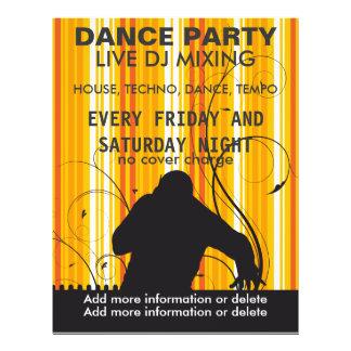 Reklamblad för musik för DJ för dansparty levande Reklamblad 21,5 X 30 Cm