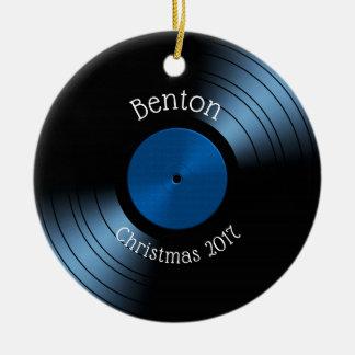 Rekord- album för vinyl - Retro diskett för 70-tal Julgransprydnad Keramik