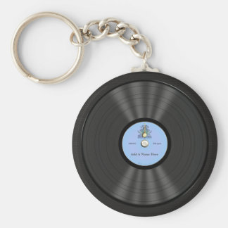 Rekord för personligblågräsvinyl rund nyckelring