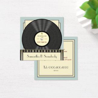 Rekord för vintageklassikervinyl fyrkantigt visitkort