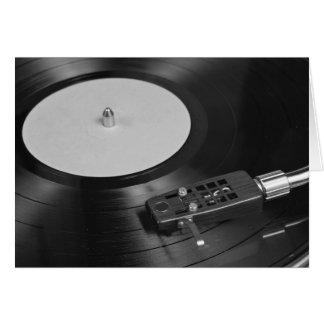 Rekord- leka för vinyl på en Turntableöverblick Hälsningskort