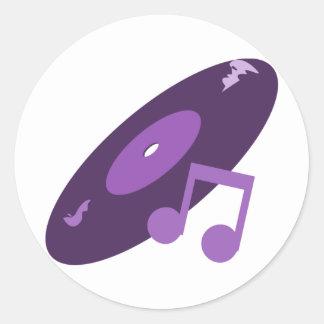 Rekord- Retro musik noterar lilor Rund Klistermärke