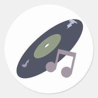 Rekord- Retro musik noterar original- färger Rund Klistermärke