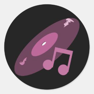 Rekord- Retro musik noterar rosor Klistermärke