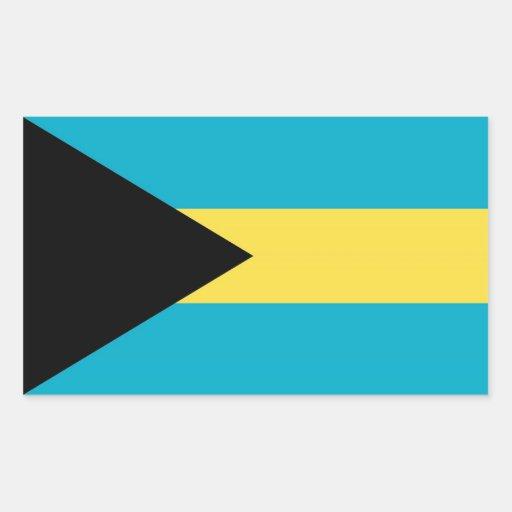 Rektangelklistermärke med flagga av Bahamas Retangel Klistermärke