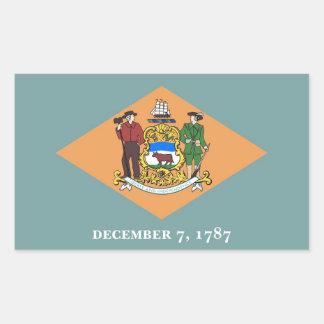 Rektangelklistermärke med flagga av Delaware, USA Rektangulärt Klistermärke