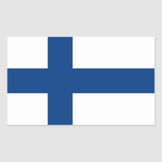 Rektangelklistermärke med flagga av Finland Rektangulärt Klistermärke