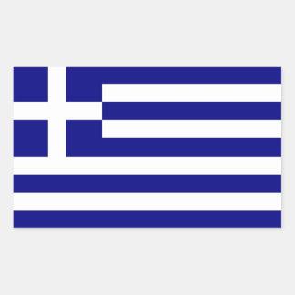 Rektangelklistermärke med flagga av Grekland Rektangulärt Klistermärke