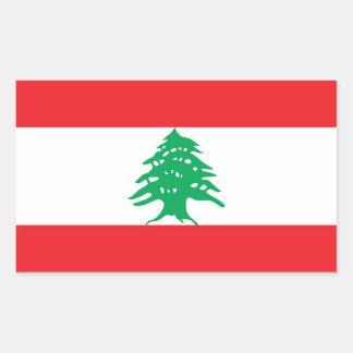 Rektangelklistermärke med flagga av Libanon Rektangulärt Klistermärke