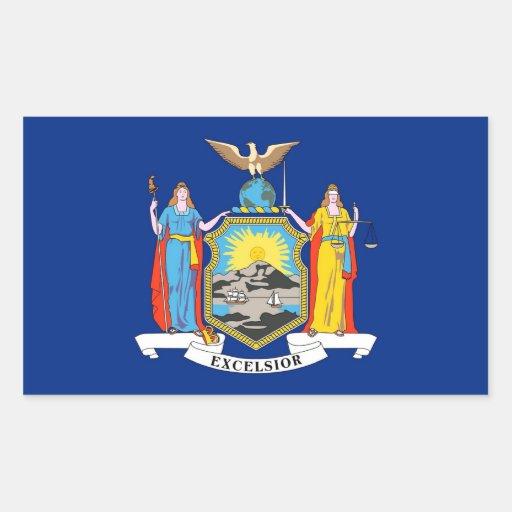 Rektangelklistermärke med flagga av New York, USA Rektangelformat Klistermärke