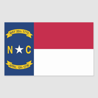 Rektangelklistermärke med flagga av North Carolina Rektangulärt Klistermärke