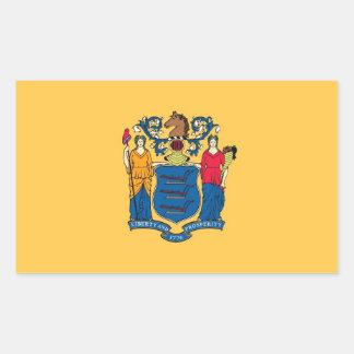 Rektangelklistermärke med flagga av nytt - jersey, rektangulärt klistermärke